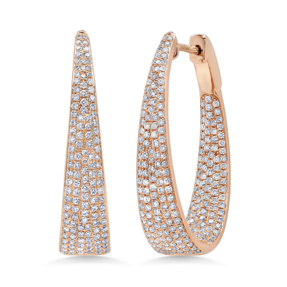 Gradual Pave Diamond Hoops