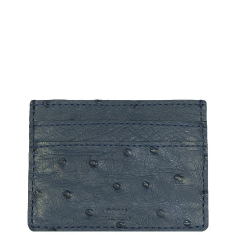 "Exotic Denim Blue Ostrich Credit Card Holder from the exclusive Coly collection features 4 credit card slots, and an interior cash slot! Dimensions are 4""W x 3""H. Handmade in Los Angeles."