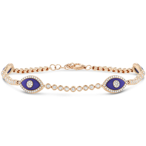 Multi Eye Diamond and Lapis Tennis Bracelet