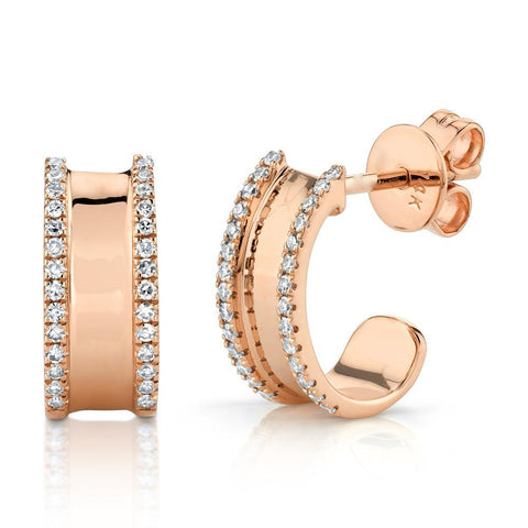 Diamond Lined Huggie Earrings