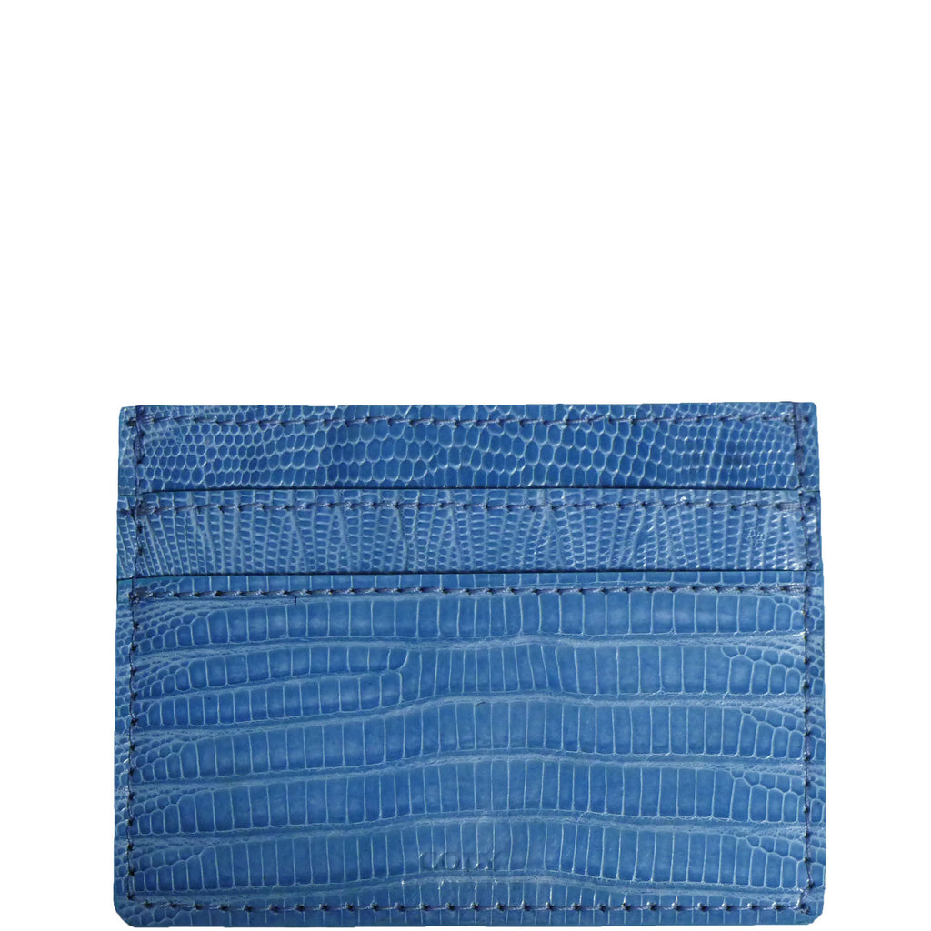 "Exotic Sky Blue Lizard Credit Card Holder from the exclusive Coly collection features 4 credit card slots, and an interior cash slot! Dimensions are 4""W x 3""H."