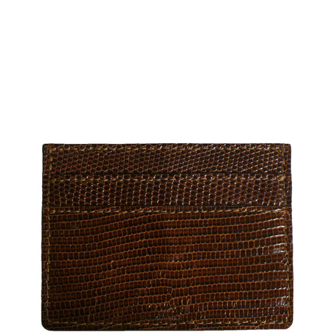 "Exotic Cognac Brown Lizard Credit Card Holder from the exclusive Coly collection features 4 credit card slots, and an interior cash slot! Dimensions are 4""W x 3""H."