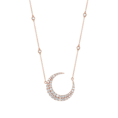 Luxe Moon Diamond Necklace