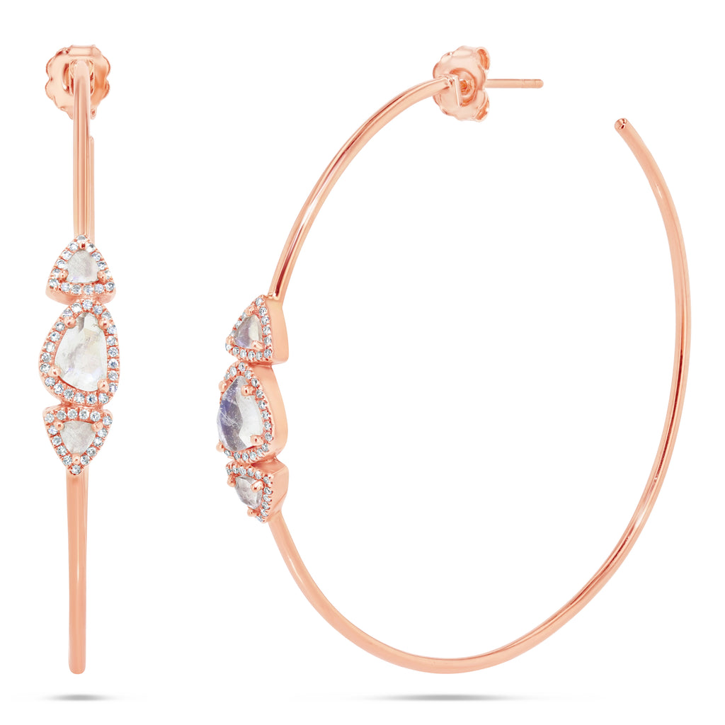 Moonstone and Diamond Rose Gold Hoops