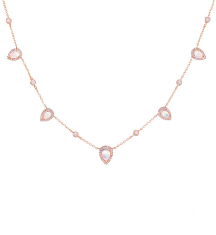 Moonstone Teardrop Diamond Necklace
