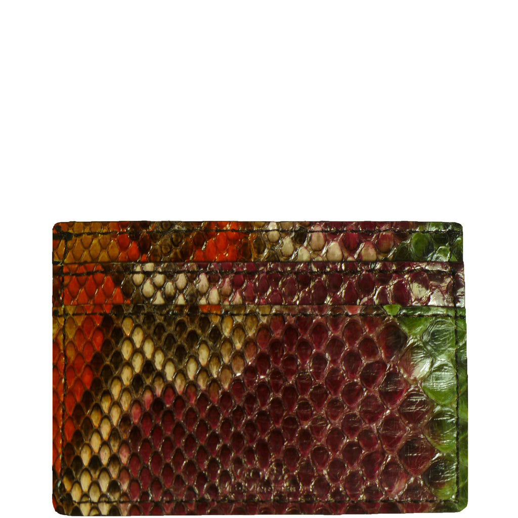 "Exotic Multi-color Snakeskin Credit Card Holder from the exclusive Coly collection features 4 credit card slots, and an interior cash slot! Dimensions are 4""W x 3""H. Handmade in Los Angeles."