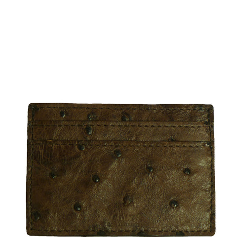 "Exotic Chocolate Brown Credit Card Holder in Ostrich skin from the exclusive Coly collection features 4 credit card slots, and an interior cash slot! Dimensions are 4""W x 3""H. Handmade in Los Angeles."