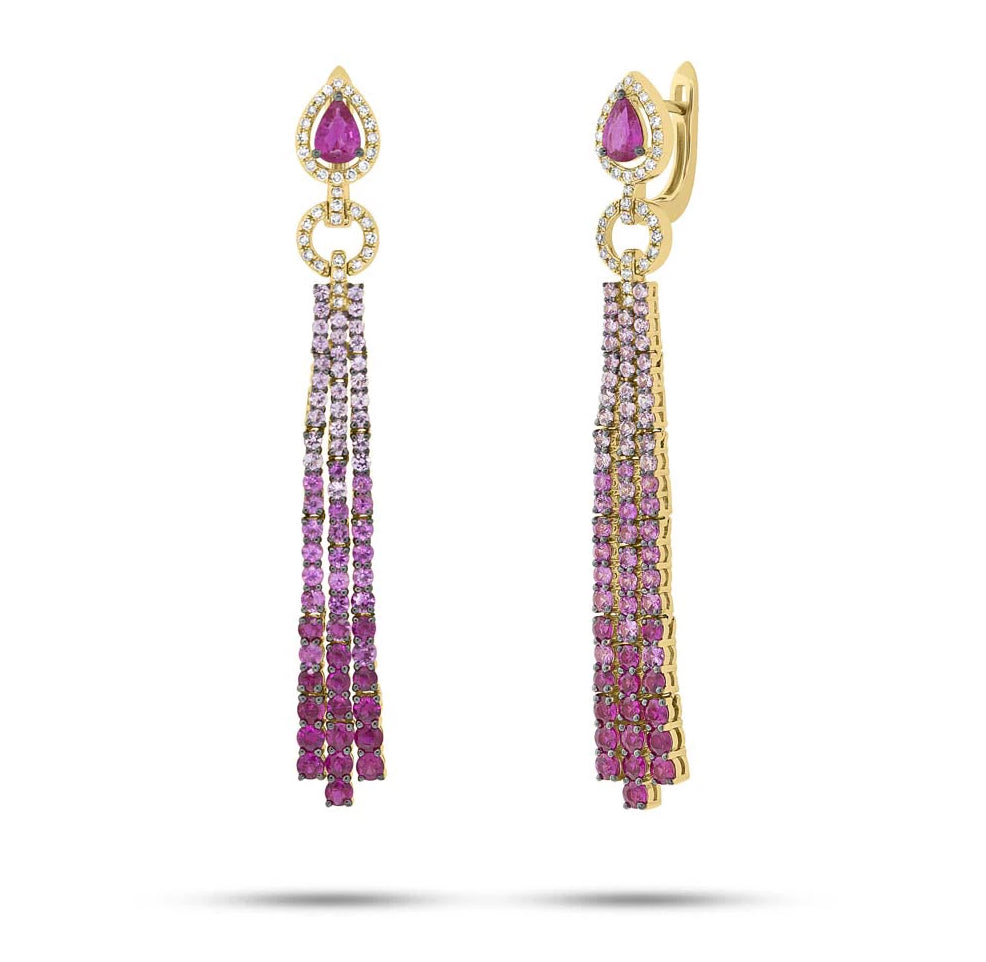 Pink Sapphire Chandelier Drop Earrings