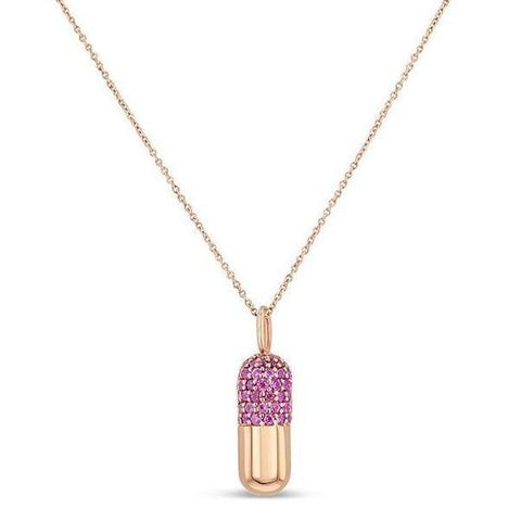 Pink Sapphire Pill Necklace