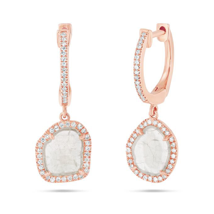 Sliced Diamond Drop Earrings