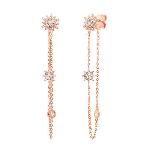 Starburst Chain Diamond Earrings