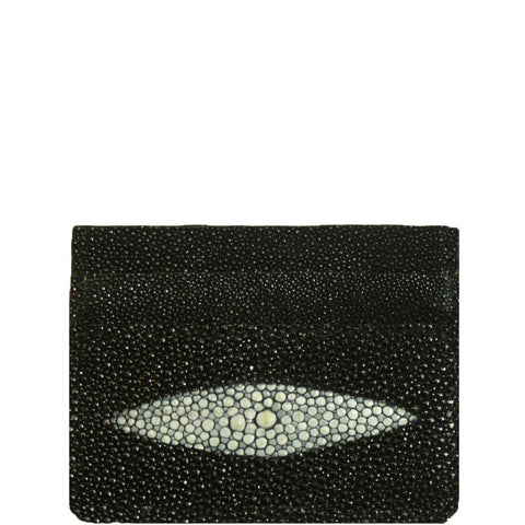"Exotic Black Stingray Credit Card Holder from the exclusive Coly collection features 4 credit card slots, and an interior cash slot! Dimensions are 4""W x 3""H. Handmade in Los Angeles."