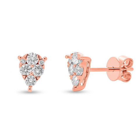 Teardrop Diamond Stud Earrings