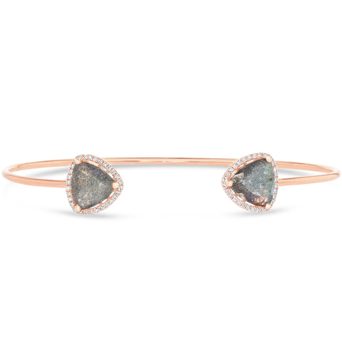 Labradorite and Diamond Cuff