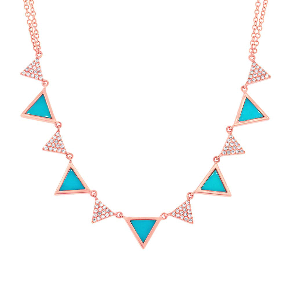 Diamond and Turquoise Triangle Necklace