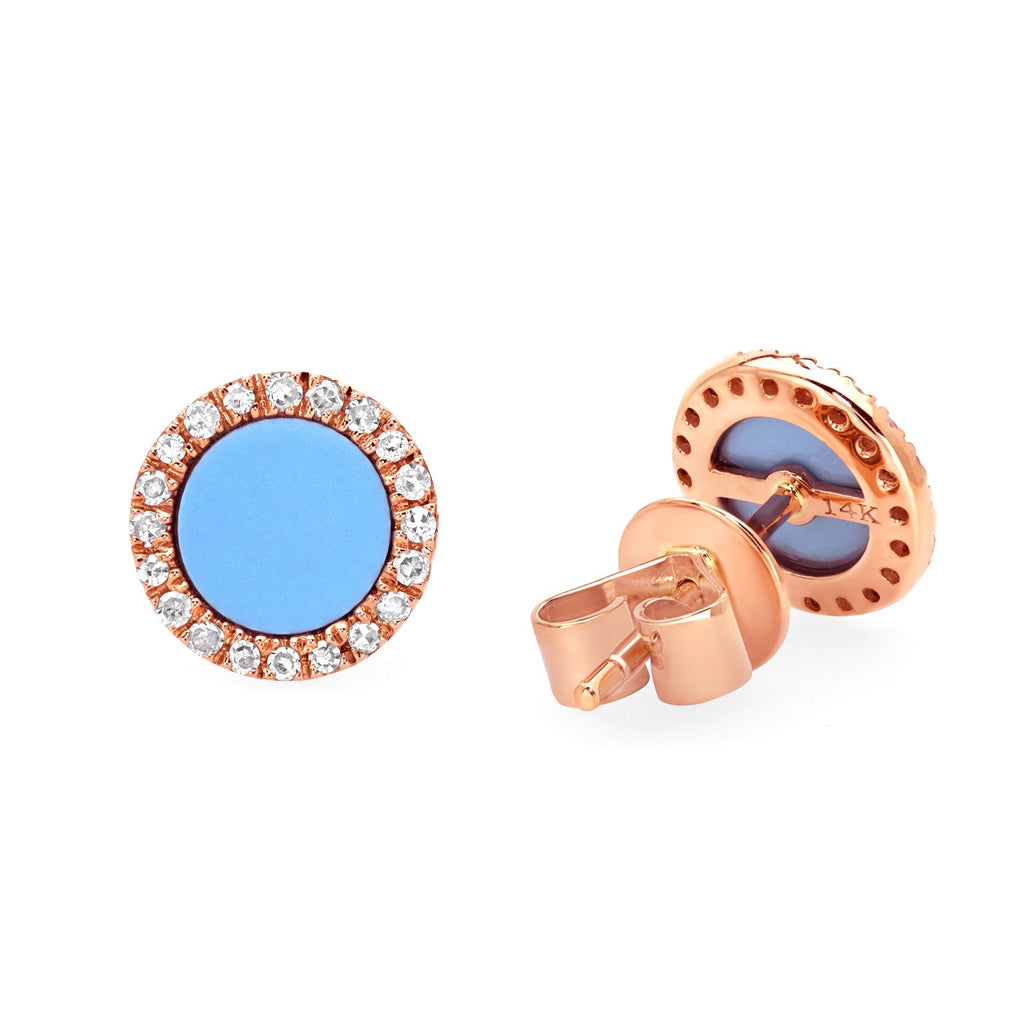 Turquoise and Diamond Circle Studs