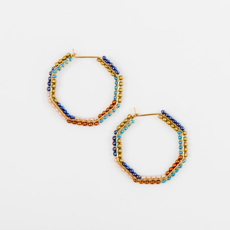 Small Beaded Hex Earrings