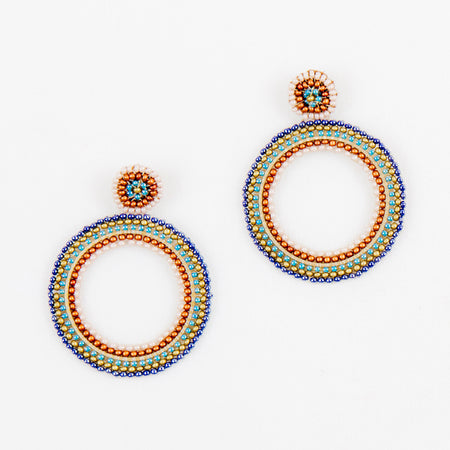 Beaded Circle Post Earrings