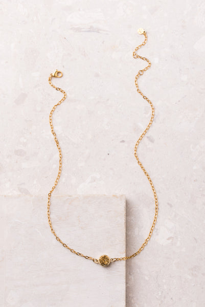 Gold Circle Druzy Necklace