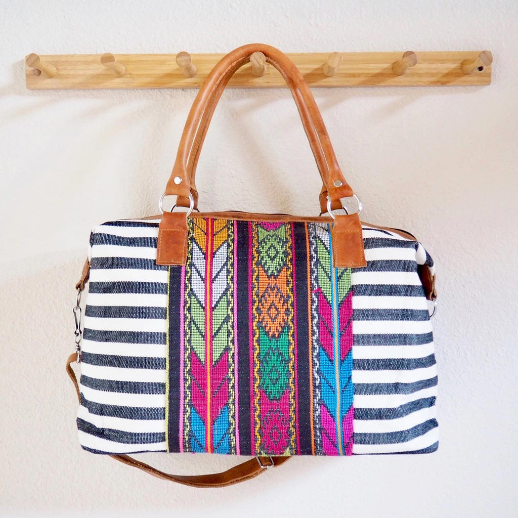 Day Bag with Woven Panel