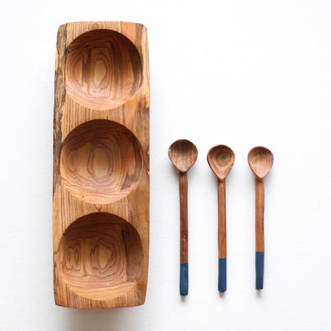 Olive Wood Tatu Tray - Navy