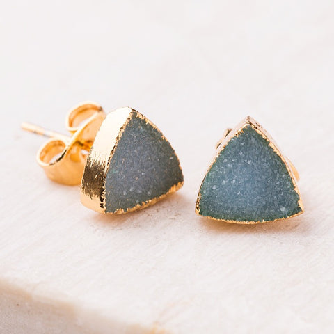 Indigo Druzy Stud Earrings