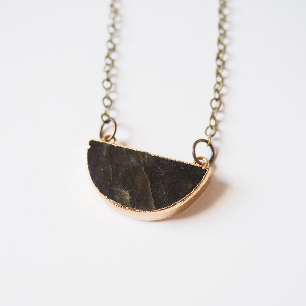 Half Circle Stone Necklace