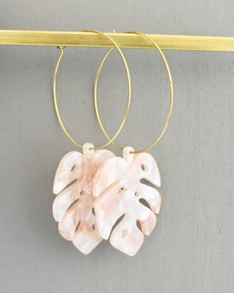 Palm Lucite Earrings - Green, Blush or Multi