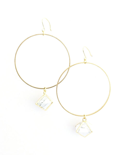 Marble Drop Hoop Earrings