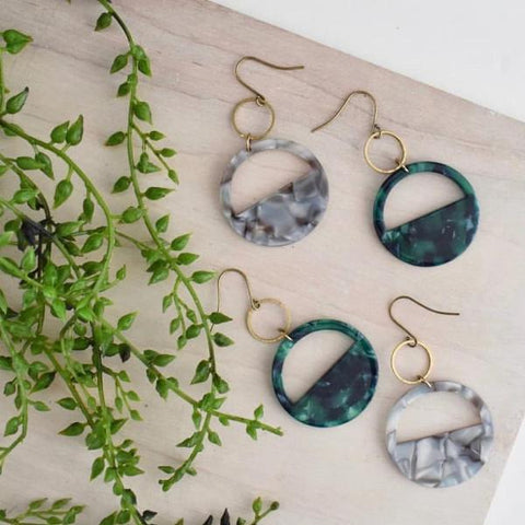Cut Out Lucite Earrings - Mustard, Gray, or Green