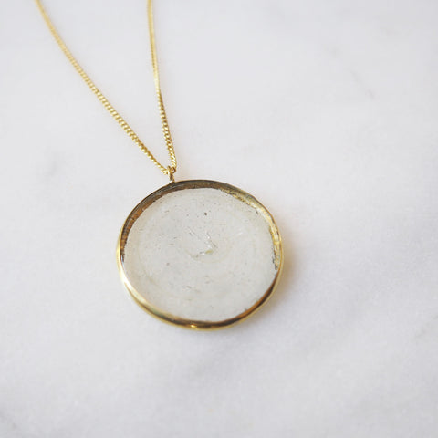 Glass Circle Pendant Necklace
