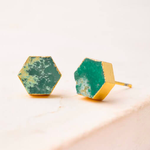 Turquoise Hex Studs
