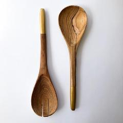 Painted Olive Wood Serving Set -  Navy or Gold