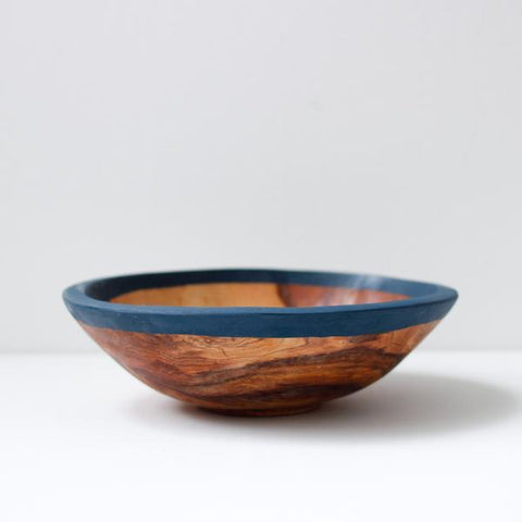 "Painted Olive Wood 9"" Kuni Bowl - Nude or Navy"