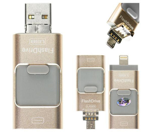 32GB Lightning/USB 3.0/MicroUSB Flash Drive