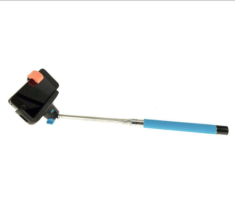 Bluetooth Selfie Stick with Large Clip (Blue)