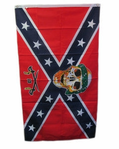 Confederate Flag with Skull, Crossed Swords, and number 13- 3'x5'