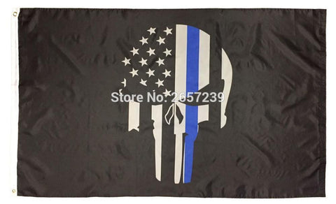 Thin Blue Line Skull FlagFlag