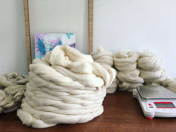 Natural White Merino Roving