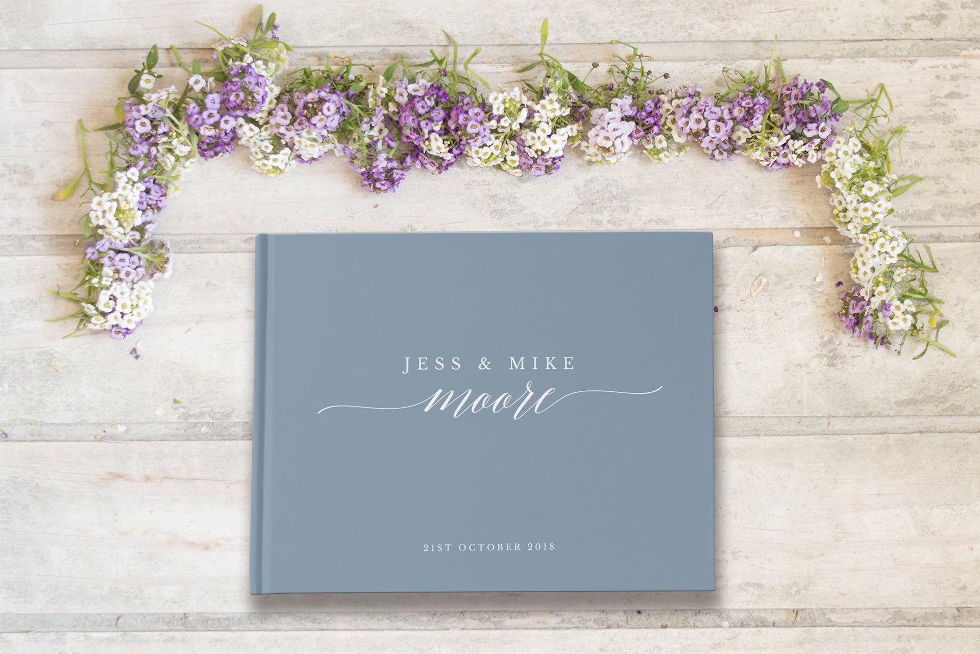 Dusty blue personalised wedding guest book