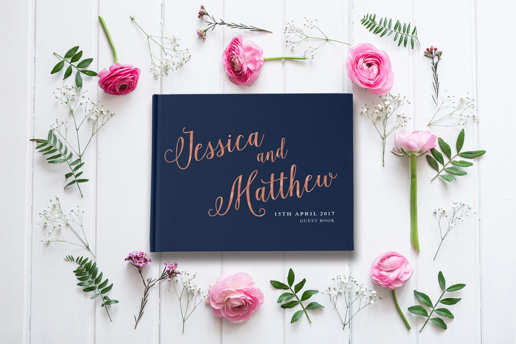 Navy and rose gold wedding guest book