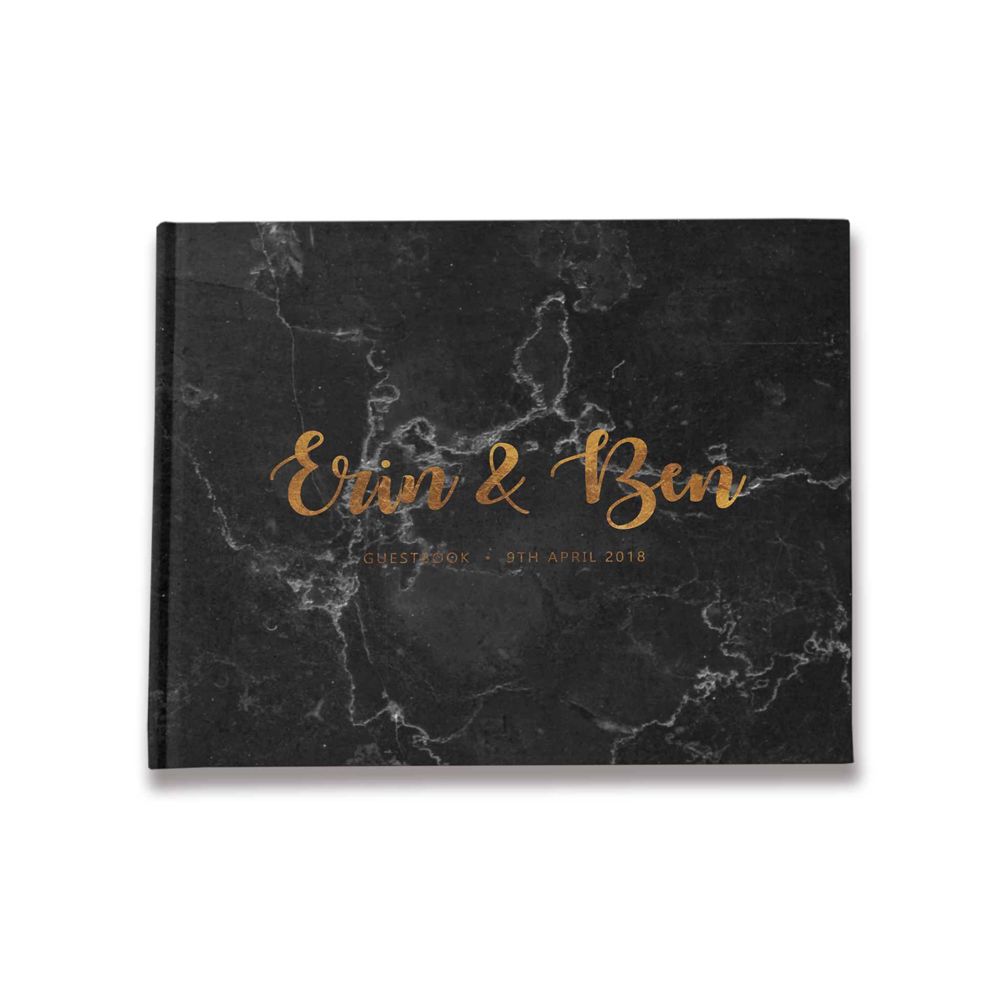 Marble | Black & Gold Wedding Guest Book