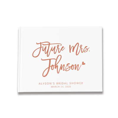 Bold Future Mrs | White and Rose Gold Bridal Shower Guest Book