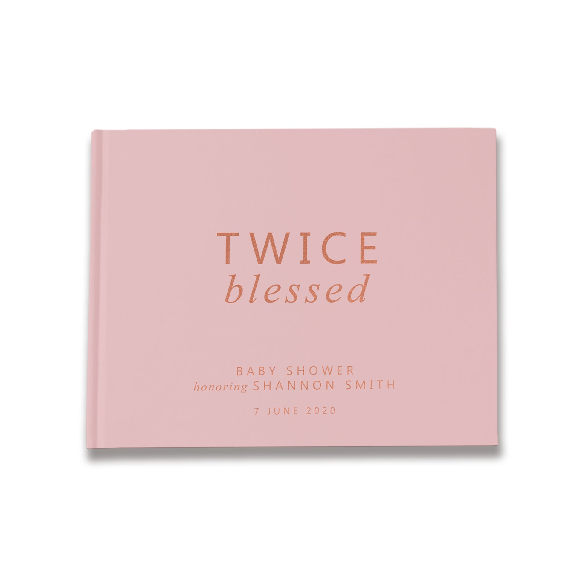 Twin Twice Blessed | Dusty Pink & Rose Gold Baby Shower Guest Book