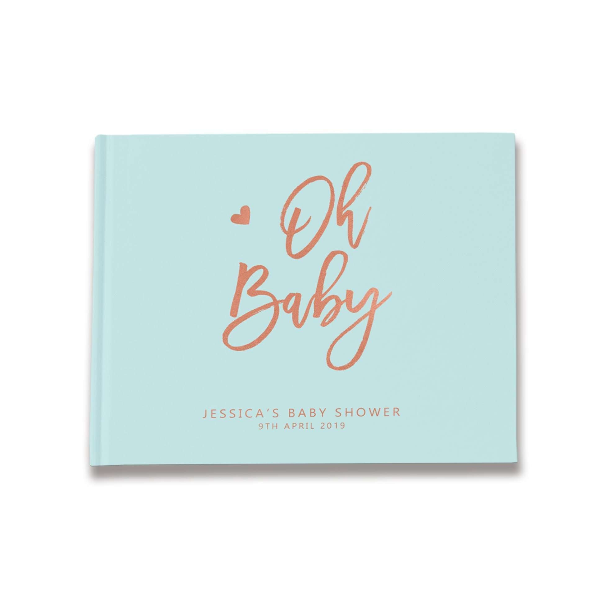Oh Baby | Pastel Blue & Rose Gold Baby Shower Guest Book