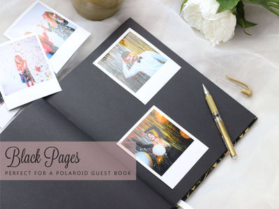 Ashley Wedding Guest Book | Black and Rose Gold