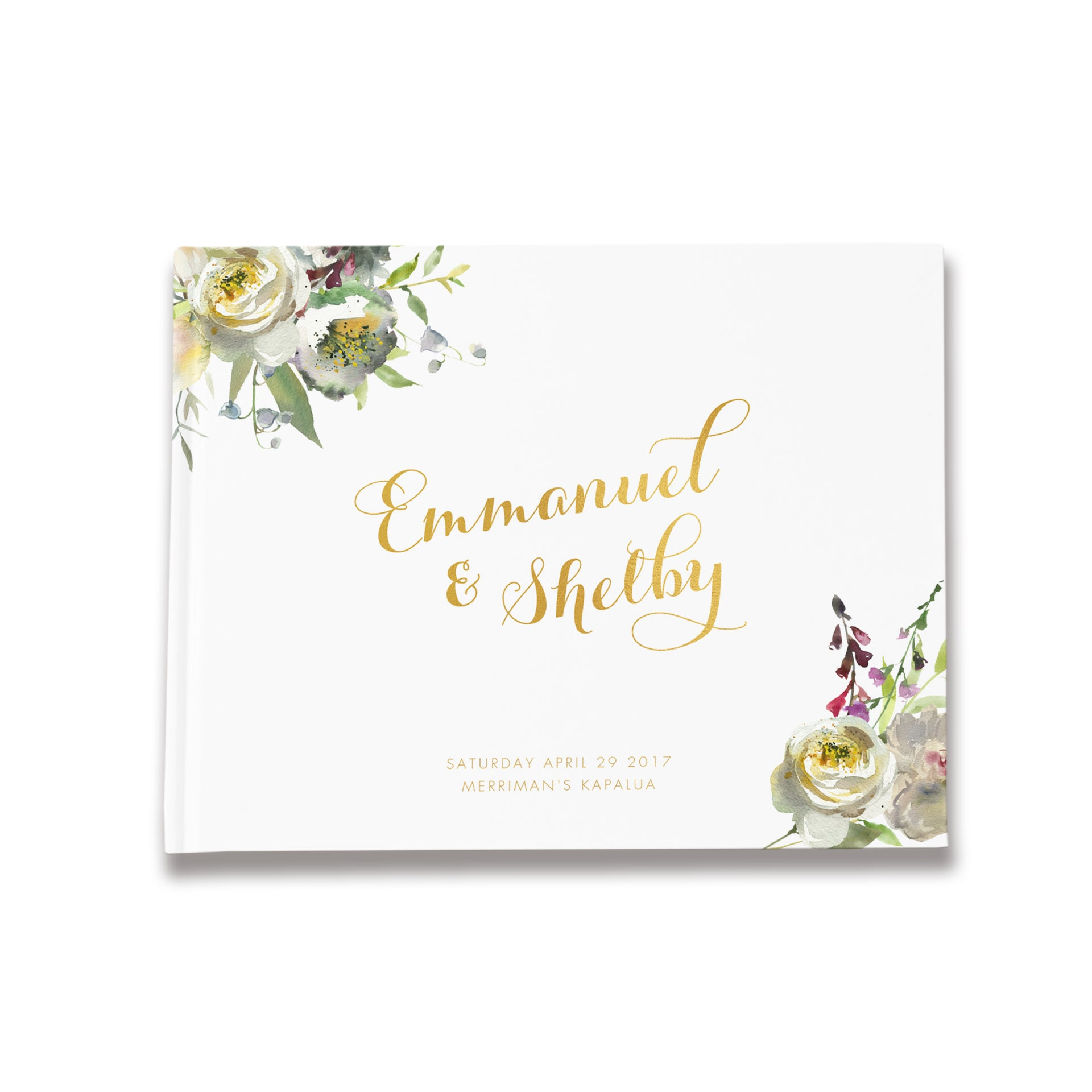 Champagne Floral | Gold Foil Wedding Guest Book