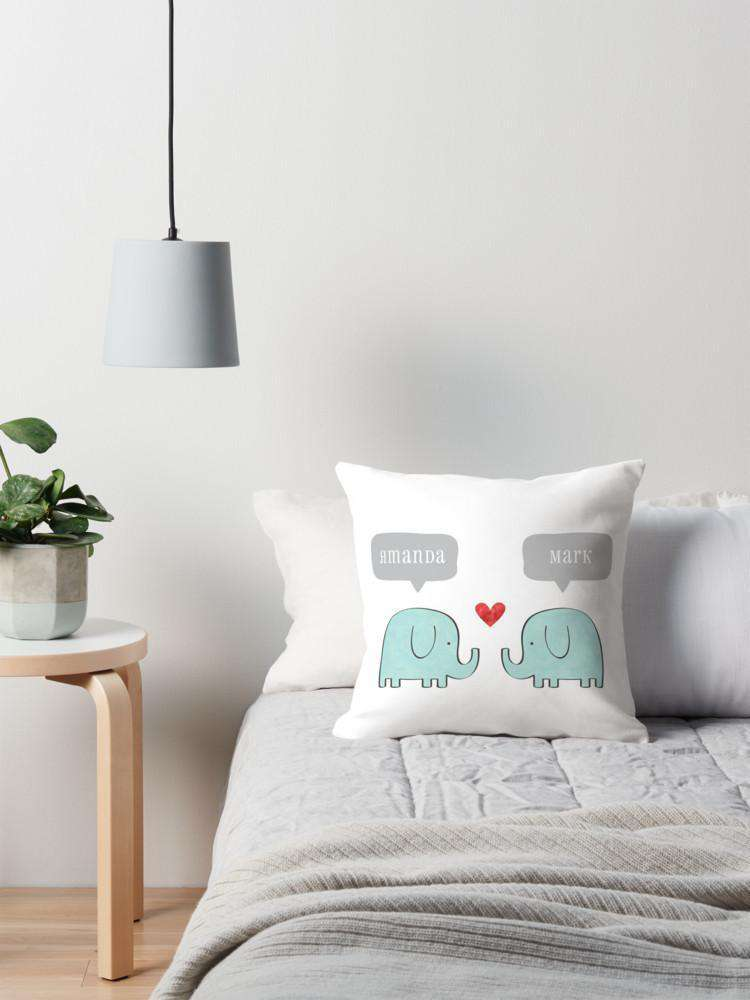 Elephant Couple Cushion-Paper Bound Love