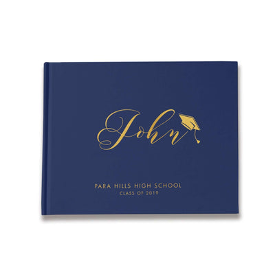 Graduation Party Guest Book | Navy and Gold