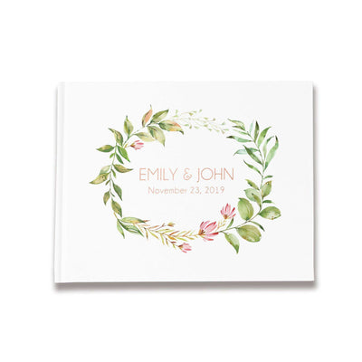 Greenery Wedding Guest Book | Rose Gold